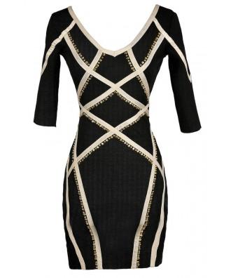 Cute Bodycon Dress, Black and Beige Bodycon Dress, Bodycon Dress With Sleeves, Studded Bodycon Dress, Black and Beige Studded Bodycon Dress