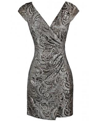 Silver Lace Cocktail Dress, Metallic Lace Wrap Dress, Metallic Lace Party Dress, Cute Silver Lace Dress, Lace Party Dress