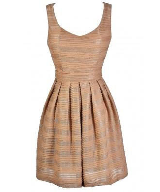 Mocha Party Dress, Mocha A-Line Dress, Cute Cocktail Dress, Cute Party Dress, Taupe Party Dress, Taupe A-Line Dress