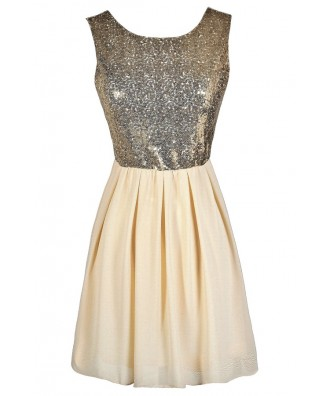 Cream and Gold Sequin Dress, Cream and Gold Sequin A-Line Dress, Cream and Gold Sequin Party Dress, Cream and Gold Sequin Cocktail Dress, Ivory and Gold Sequin Dress, Ivory and Gold Sequin Party Dress