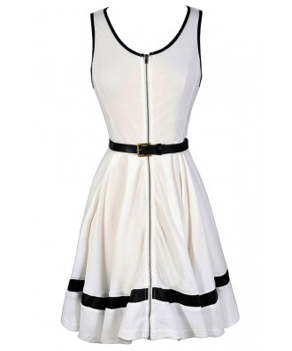 Cute Black and Ivory Dress, Black and Ivory Zip Front Dress, Black and Ivory Belted Dress, Black and Ivory Party Dress, Black and White Dress, Cute Black and White Dress, Black and White Zip Front Dress