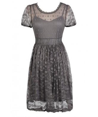 Cute Grey Dress, Grey Embroidered Dress, Grey lace Dress, Grey Party Dress, Grey Summer Dress