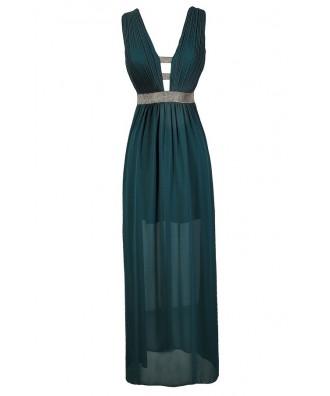 Teal Maxi Dress, Teal Prom Dress, Teal Formal Dress, Green Maxi Dress, Green Formal Dress, Teal and Gold Maxi Dress, Teal and Gold Prom Dress
