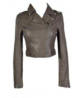 Grey Leatherette Jacket, Grey Faux Leather Moto Jacket, Grey Leatherette Moto Jacket, Cute Grey Leatherette Jacket