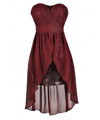 Cute Burgundy Dress, Burgundy Party Dress, Burgundy Cocktail Dress, Burgundy Sequin Dress, Burgundy High Low Dress