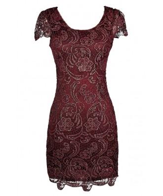 Burgundy Lace Dress, Burgundy Lace Pencil Dress, Burgundy Capsleeve Lace Dress, Burgundy and Gold Metallic Lace Dress