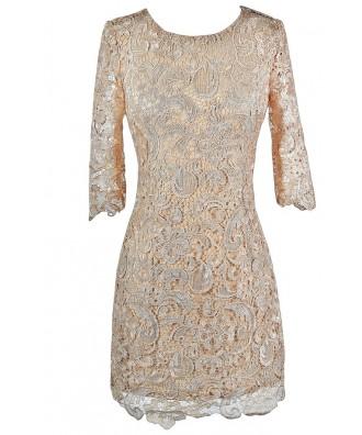 Beige Lace Dress, Beige Lace Cocktail Dress, Beige Lace Party Dress, Beige Lace Three Quarter Sleeve Dress