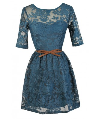 Teal Lace Dress, Teal Lace Party Dress, Belted Teal Lace Dress, Teal Lace A-Line Dress