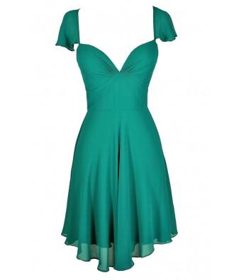 Teal Flutter Sleeve Dress, Cute Teal Dress, Teal Party Dress, Teal A-Line Dress, Teal Chiffon Dress, Teal Sundress