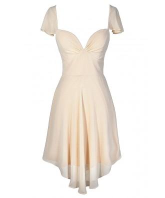 Beige Flutter Sleeve Dress, Cream Flutter Sleeve Dress, Ivory Flutter Sleeve Dress, Beige Chiffon Dress, Cream Chiffon Dress, Ivory Chiffon Dress, Beige Bridal Shower Dress, Beige Rehearsal Dinner Dress