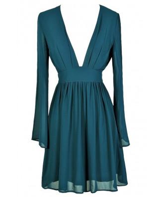 Teal Party Dress, Teal Cocktail Dress, Teal Chiffon Dress, Teal Longsleeve Dress, Teal Open Shoulder Dress, Teal A-Line Dress, Green Cocktail Dress, Green Party Dress, Green Chiffon Dress, Green A-Line Dress