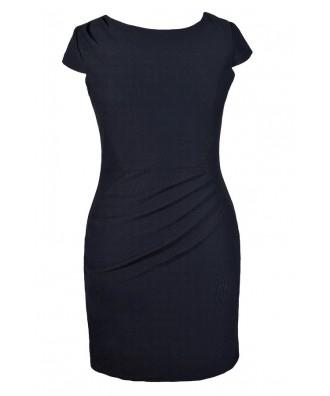 Cute Plus Size Dress, Plus Size Pencil Dress, Plus Size Navy Pencil Dress, Plus Size Work Dress, Plus Size Capsleeve Pencil Dress