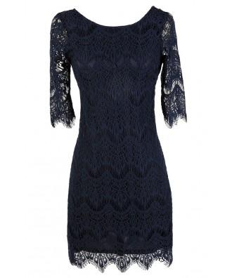 Cute Navy Dress, Navy Lace Dress, Navy Lace Sheath Dress, Navy Lace Party Dress