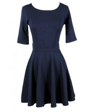 Cute Navy Dress, Navy A-Line Dress, Navy Party Dress, Navy Cocktail Dress, Navy Three Quarter Sleeve A-Line Dress, Blue Party Dress, Blue A-Line Dress