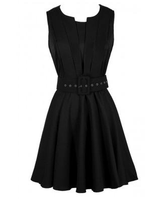 Cute Black Dress, Little Black Dress, Black Belted Dress, Black Belted A-Line Dress, Black Work Dress, Black Party Dress