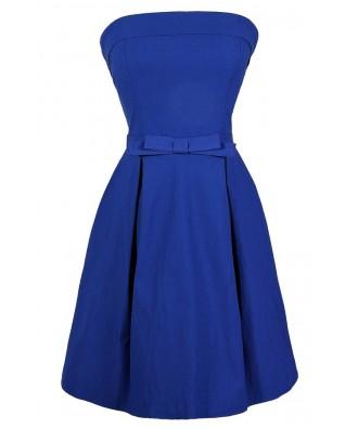 Blue Bow Dress, Cute Blue Dress, Blue Bow A-Line Dress, Bright Blue Party Dress, Royal Blue Cocktail Dress, Bright Blue Bridesmaid Dress, Blue Bridesmaid Dress, Bright Blue A-Line Dress, Bright Blue Bow Dress, Blue Party Dress