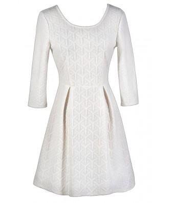 Winter White Dress, White A-Line Dress, White Bridal Shower Dress, White Rehearsal Dinner Dress, Textured White Dress, White Three Quarter Sleeve Dress