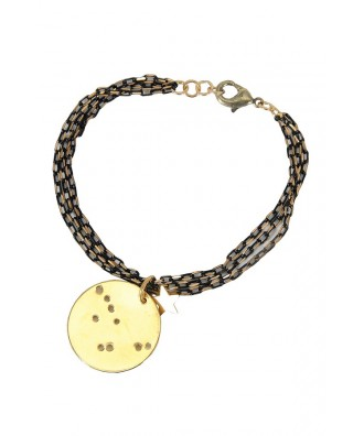 Black and Gold Bracelet, Gold Star Bracelet, Gold Star Charm Bracelet, Cute Gold Jewelry