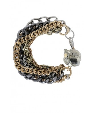 Cute Pyrite Bracelet, Chain and Pyrite Bracelet, Silver and Gold Chain Bracelet, Cute Pyrite Jewelry, Pyrite Mineral Jewelry
