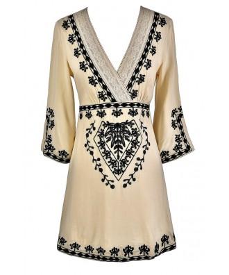 Black and Beige Caftan, Cute Summer Dress, Black and Beige Embroidered Dress, Cute Coverup, Swimwear Coverup, Cute Caftan Dress
