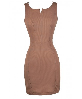 Cute Work Dress, Cute Mocha Dress, Cute Camel Dress, Mocha Pencil Dress, Camel Pencil Dress