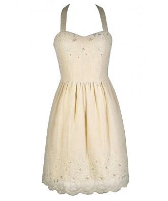 Cute Beige Dress, Cute Summer Dress, Beige Embroidered Dress, Beige Halter Dress, Ivory Summer Dress, Ivory A-Line Dress, Ivory Party Dress, Ivory Rehearsal Dinner Dress, Ivory Party Dress