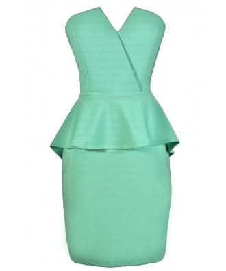 Cute Mint Dress, Mint Peplum Dress, Strapless Mint Dress, Mint Party Dress, Mint Cocktail Dress