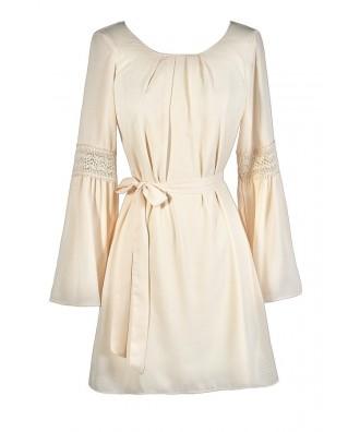 Cute Beige Dress, Beige Hippie Dress, Beige Boho Dress, Beige Bell Sleeve Dress, Beige Flare Sleeve Dress, Beige Longsleeve Dress