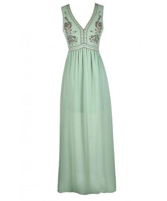 Beaded Maxi Dress, Pale Green Maxi Dress, Beaded Mint Maxi Dress, Embellished Mint Maxi Dress, Sage Maxi Dress, Beaded Sage Dress, Cute Sage Dress, Cute Mint Dress, Embroidered Mint Maxi Dress, Embroidered Sage Maxi Dress