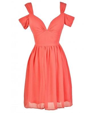 Coral Pink Dress, Pink Bridesmaid Dress, Pink Flutter Sleeve Dress, Pink A-Line Dress, Pink Summer Dress, Cute Pink Dress, Cute Pink Summer Dress, Pink Party Dress, Pink Cocktail Dress