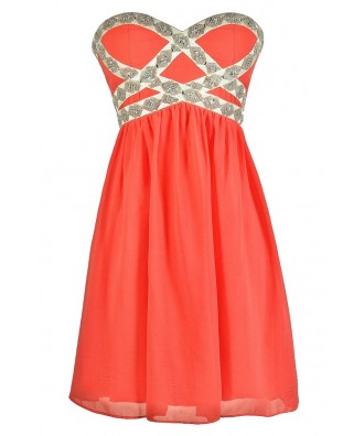 Cute Coral Dress, Coral Prom Dress, Coral Cocktail Dress, Beaded Coral Dress, Embellished Coral Dress, Coral Chiffon Dress, Coral Strapless Dress