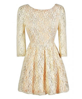 Beige Lace Dress, Beige and Peach Lace Dress, Beige Lace Three Quarter Sleeve Dress, Beige Lace A-Line Dress