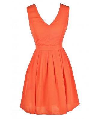 Cute Orange Dress, Orange Party Dress, Orange Cocktail Dress, Orange A-Line Dress, Cute Summer Dress, Orange Summer Dress
