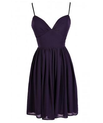 Cute Purple Dress, Royal Purple Dress, Purple Chiffon Dress, Purple Party Dress, Purple Cocktail Dress, Purple A-Line Dress, Dark Purple Dress