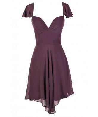Cute Purple Dress, Royal Purple Dress, Purple Chiffon Dress, Purple Party Dress, Purple Cocktail Dress, Purple Flutter Sleeve Dress, Purple A-Line Dress, Flowy Purple Dress, Royal Purple Dress, Royal Purple Party Dress, royal Purple Cocktail Dress