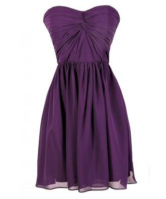 Cute Purple Dress, Purple Bridesmaid Dress, Purple Strapless Dress, Purple Chiffon Dress, Royal Purple Dress, Purple Party Dress, Purple Cocktail Dress