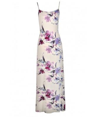 Floral Print Maxi Dress, Cute Summer Dress, Cute Maxi Dress, Blue and Purple Floral Dress, Blue and Purple Floral Print Maxi Dress