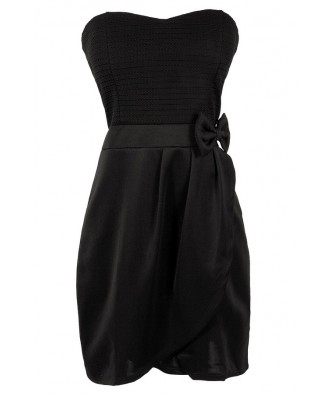 Cute Black Dress, Little Black Dress, Black Bow Dress, Black Party Dress, Black Cocktail Dress, Black Strapless Dress, Cute Bow Dress