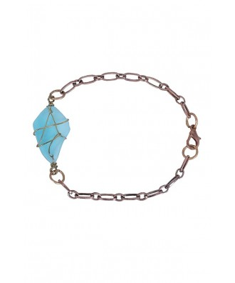 Sea Glass Bracelet, Cute Blue Bracelet, Cute Turquoise Bracelet, Baby Blue Bracelet, Cute Jewelry, Cute Bracelet, Glass Stone Bracelet, Glass Stone Jewelry, Blue Glass Bracelet, Wire Wrapped Jewelry, Wire Wrapped Bracelet