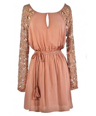 Cute Pink Dress, Pink Lace Dress, Dusty Pink Dress, Blush Pink Dress, Pink Lace Sleeve Dress