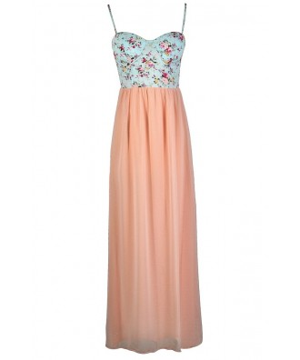 Cute Maxi Dress, Cute Summer Dress, Summer Maxi Dress, Pink and Blue Dress, Pale Pink Maxi Dress, Blush Pink Maxi Dress, Light Pink Maxi Dress, Floral Print Maxi Dress, Bustier Maxi Dress, Pink and Blue Floral Maxi Dress