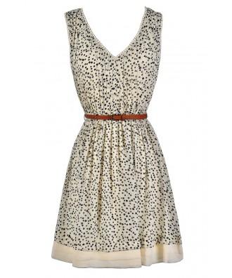 Polka Dot Dress, Cute Summer Dress, Black and Ivory Dot Dress, Black and Beige Dot Dress, Belted Polka Dot Dress, Polka Dot A-Line Dress, Cute Black and Ivory Dress, Cute Black and Beige Dress