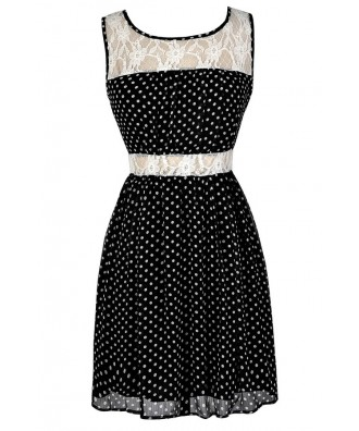 Cute Polka Dot Dress, Black and White Polka Dot Dress, Polka Dot Summer Dress, Black and Ivory Polka Dot Lace Dress, Polka Dot A-Line Dress, Polka Dot Party Dress