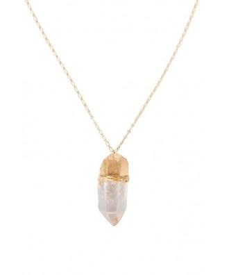 Cute Necklace, Cute Jewelry, Gold and Quartz Necklace, Gold and Crystal Necklace, Clear Quartz Necklace, Quartz and Gold Necklace