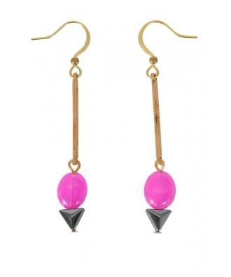 Cute Jewelry, Cute Earrings, Cute Pink Earrings, Pink and Gold Earrings, Pink Dangle Earrings, Pink Drop Earrings, Cute Gold Earrings, Cute Gold Jewelry