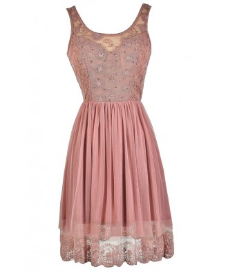 Cute Pink Dress, Dusty Pink Dress, Pink Lace Dress, Pink A-Line Dress, Pink Mesh Dress, Pink Embellished Dress, Pink Party Dress, Pink Summer Dress, Pink Cocktail Dress