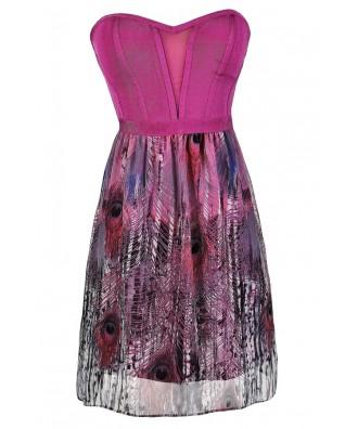 Cute Summer Dress, Bright Printed Dress, Feather Print Dress, Peacock Feather Dress, Bright Pink Printed Dress, Bright Purple Printed Dress, Printed Party Dress, Printed Summer Dress, Printed Chiffon Dress