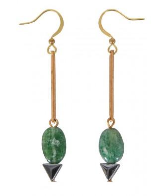 Green Drop Earrings, Cute Earrings, Cute Jewelry, Delicate Green Earrings, Gold Drop Earrings