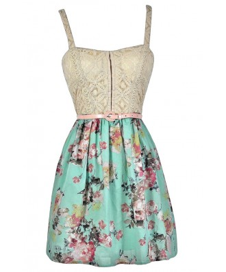 Cute Summer Dress, Mint Floral Dress, Mint Summer Dress, Mint Belted Dress, Mint Floral Print Dress, Mint Beige Lace Dress
