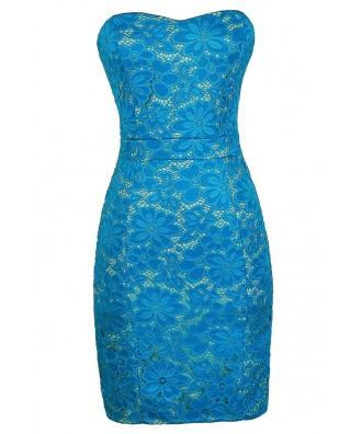 Bright Blue Lace Dress, Turquoise Blue Lace Dress, Bright Blue Strapless Lace Dress, Turquoise Bright Blue Summer Dress, Blue Lace Strapless Dress